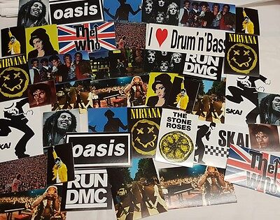 Music Sticker Set - Iconic Famous Image Stickers Mixed Lot - Various Bands Etc • 2.89£