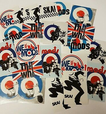 Mod Sticker Set - The Mods / Ska Stickers Pack - Scooter / Music Stickers (25) • 2.95£
