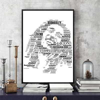 Bob Marley Word Art Portrait - 4 Choices - Keepsake/Gift/Collectable UK FREEPOST • 35£