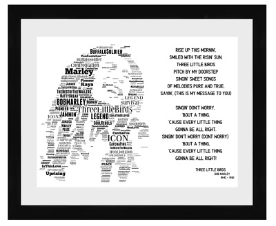 Bob Marley 3 Little Birds Word Art Portrait / Keepsake/Memorabilia/Gift • 35£