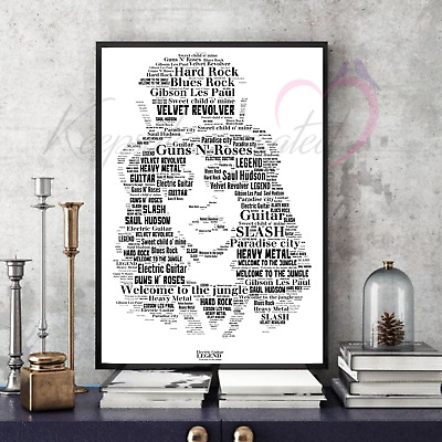 Slash Guns N' Roses Word Art Portrait Collectable/Memorabilia/Keepsake/Gift  • 35£