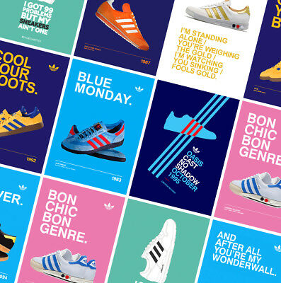 ADIDAS CASUALS CLASSIC TRAINERS POSTERS PRINTS - Oasis - Gallagher - Stone Roses • 10.99£