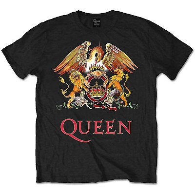 Official QUEEN Classic Crest T Shirt Black Band Tee Freddie Mercury All Sizes • 15.59£