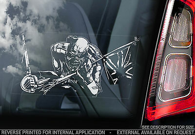 Iron Maiden - Car Window Sticker - The Trooper - Eddie Heavy Metal Sign - TYP6 • 3.65£