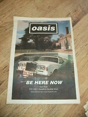 ☆ OASIS POSTER BE HERE NOW LARGE  36cm X 26cm PRESS PAPER PROMO POSTER ORIGINAL  • 15£