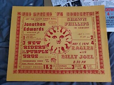 The Eagles Henley Frey Billy Joel1974 Concert Poster New Riders Comander Cody • 929.76£