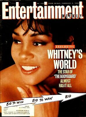 WHITNEY HOUSTON Entertainment Weekly Mag February 1993 BODYGUARD Audrey Hepburn • 30.89£