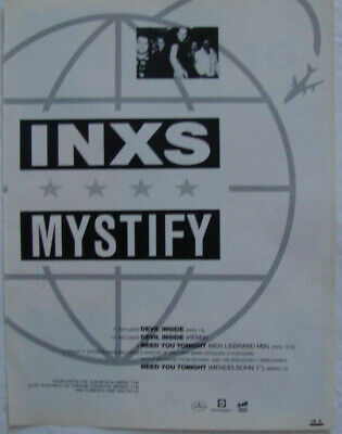 INXS - MYSTIFY - Music Press Advert - 1980's Original - 28cm X 21.5cm • 3.95£