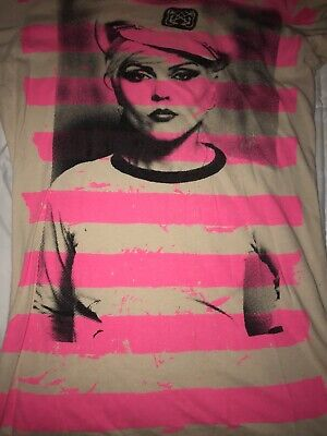 BLONDIE DEBBIE HARRY Retro T Shirt Juniors LARGE By GLAMHEAD Tan/Pink RARE • 14.81£