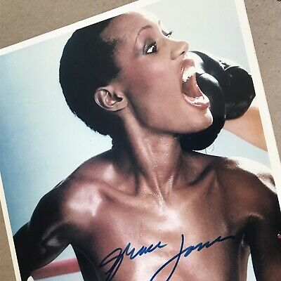 GRACE JONES Hand Signed Autograph Bare Chested On Provocative Boxing Image • 75£