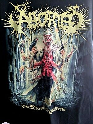 Aborted The Necrotic Manifesto T-Shirt *SIGNED BY THE BAND* SIZE XL Death Metal • 39.95£