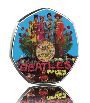 The Beatles. Sgt Pepper's Lonely Hearts Club Band. 50p Coin Collectors.colour • 2.20£