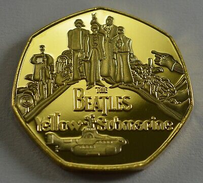 THE BEATLES.YELLOW SUBMARINE. 50p COIN COLLECTORS.COIN HUNT. GOLD.NEW.LENNON • 5.30£