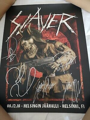 Slayer - Band Autograped Le Print - Signed By 5 Members 58/150 & Guitar Picks • 499.99£
