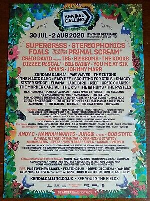 Kendal Calling 2020 Large Flyer Supergrass Stereophonics Primal Scream Blossoms. • 4.50£