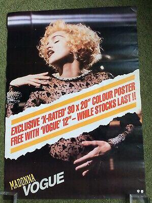 Madonna Vogue X-Rated  Original UK 1990 Promo Poster 23 1/2 X 16 1/2 Inches • 49.99£