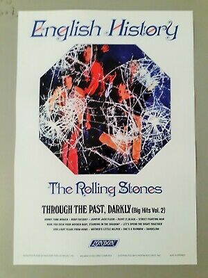 Rolling Stones Promotional Poster - Through The Past 1969 Reprinted Edition A3 • 3.99£