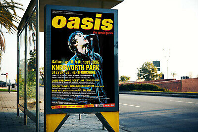 OASIS KNEBWORTH REPRODUCTION POSTER Kitchen Pub Bar Man Cave Ideal Printed NEW • 9.95£