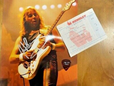 Iron Maiden Signed/autographed Dave Murray Photo + Pick + Ticket 1988 • 250£