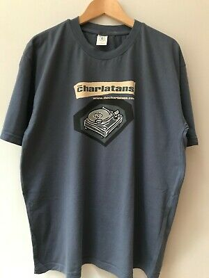 The Charlatans Record Deck T Shirt Large Blue, Photo And Sheet Music • 11.50£