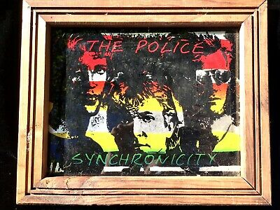 RARE VINTAGE Framed Mirror Glass Printed Photo 1983 THE POLICE Synchronicity  • 48.15£