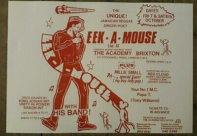Reggae Promo Concert Poster - EEK A MOUSE & Millie Small Brixton 1983 A3 Reprint • 4.50£