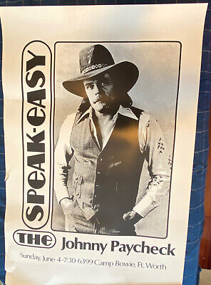 JOHNNY Paycheck The Speakeasy Fort Worth Tx CONCERT TOUR POSTER - Large Fair+ • 18.51£