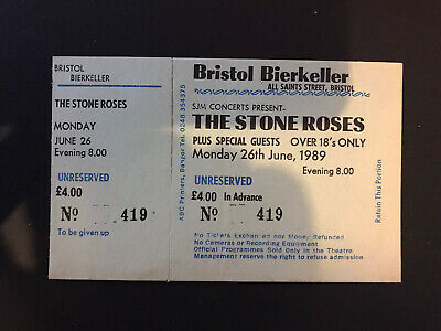 Stone Roses Ticket Bristol Bierkeller June 26th, 1989 Perfect Condition • 28£