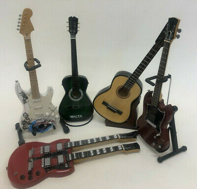 5 Model Miniature Guitars Including A Pink Floyd The Wall Fender Stratocaster  • 40£