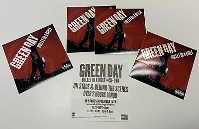 GREEN DAY Bullet In A Bible 4 PROMO STICKERS For Cd/dvd BILLIE JOE ARMSTRONG • 5.71£