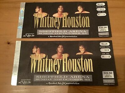 Two Whitney Houston Concert Tickets. Sheffield Arena 1993 • 14.35£