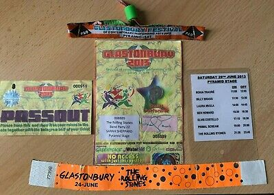 The Rolling Stones Glastonbury 2013 Used Ticket, Set List, Wristbands, Pass Out • 200£
