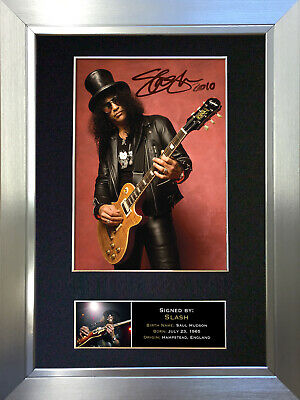 SLASH Guns N' Roses Signed Autograph Mounted Photo Reproduction A4 Print 95 • 18.99£