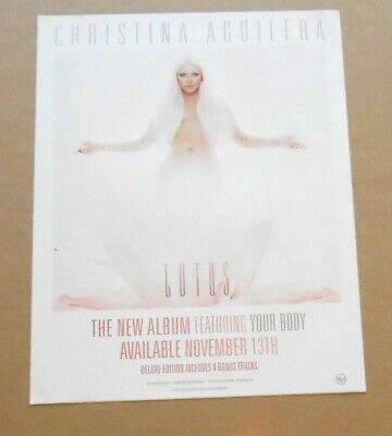 Christina Aguilera Lotus Large Sticker Poster 2012 Promo 8.5x11 • 9.49£