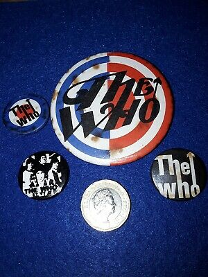 4 X 1980s THE WHO BADGES MOD REVIVAL THE JAM WE ARE THE MODS NEW HEARTS BADGES • 8.95£