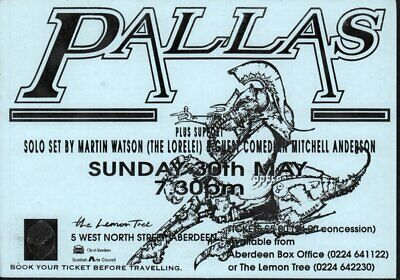PALLAS Lemon Tree 30 May 1993 FLYER UK 1993 Double Sided A5 Flyer For Gig At • 5.24£