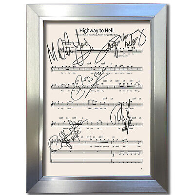 ACDC Highway To Hell MUSIC SHEET Signed Autograph Photo Repro A4 801 • 18.99£