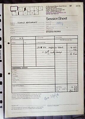 U2 Original Marquee Studios Session Sheet Invoice From 1980 • 50£