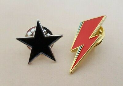David Bowie Black Star & Lightning Bolt Symbol Set Metal Lapel Pin Badges • 4.99£