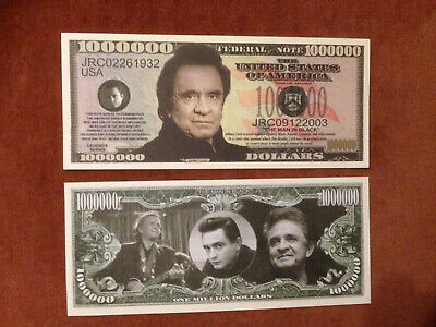 Two Johnny Cash One Million Dollars Doublesided Novelty Banknotes FREEP&P • 1.95£