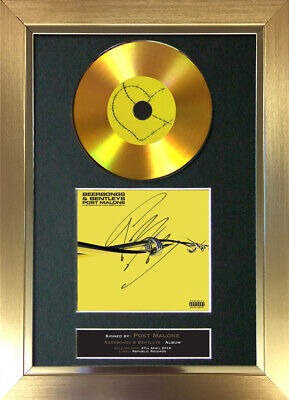 GOLD DISC POST MALONE Beerbongs & Bentleys Signed Autograph Mounted Print A4 194 • 8.99£