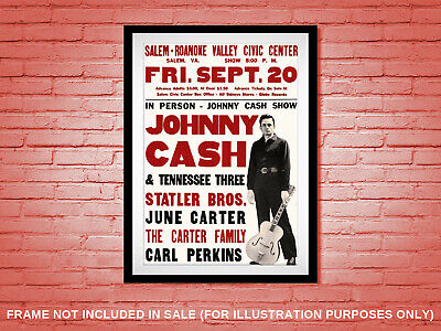 Vintage 1950s Johnny Cash Concert Poster Country Carl Perkins June Carter C&W • 18.20£