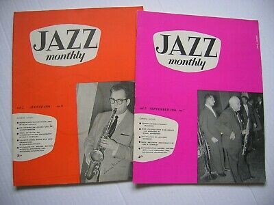 2 X  Jazz Monthly  Magazines Aug & Sept 1956-  32pg Each, Great Cond. • 6.99£