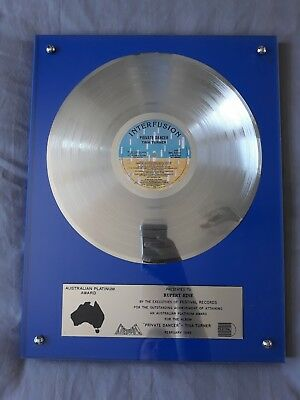 Tina Turner Private Dancer Official Australian Platinum Award Rupert Hine Rare • 499.99£