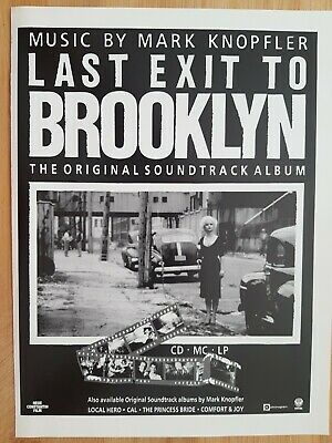 MARK KNOPFLER Magazine Print Ad For Soundtrack Album To LAST EXIT TO BROOKLYN  • 2.99£