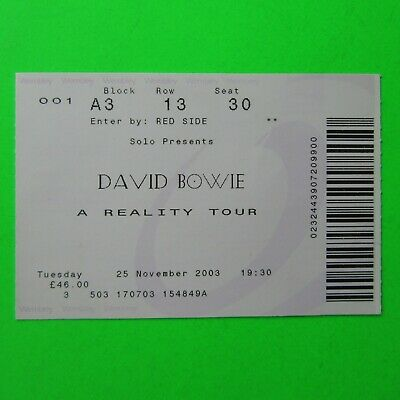 DAVID BOWIE - A Reality Tour 2003 - Wembley NOV 2003 Used Concert Ticket • 19.95£
