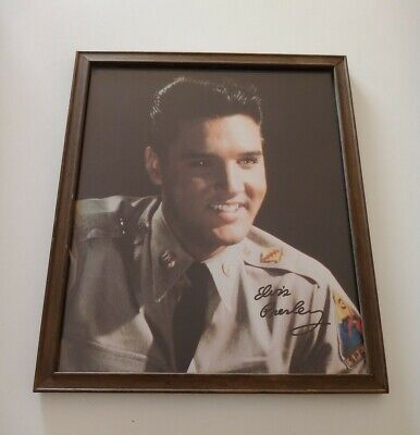 A Nice Aged & Simply Framed Picture Of Elvis As A Young Man In Military Uniform. • 20£