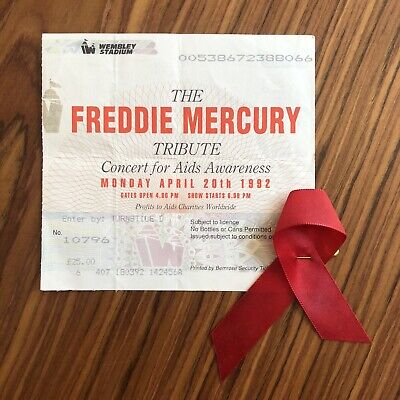 Freddie Mercury Tribute Concert Wembley 1992 Merch Ticket And Red Ribbon - Rare • 129.99£
