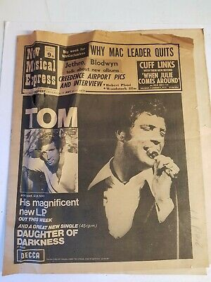 Tom Jones (main Cover) This Is The Original News Paper From New Musical Express. • 26.99£