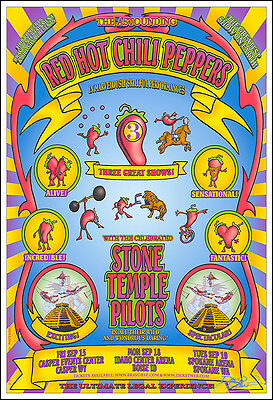 STONE TEMPLE PILOTS & RED HOT CHILI PEPPERS Signed Original 2000 Concert Poster • 15.96£